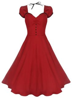 Lindy Bop 'Bella' Classy Vintage 1950's Rockabilly Style Swing Party Jive Dress (M, Red)