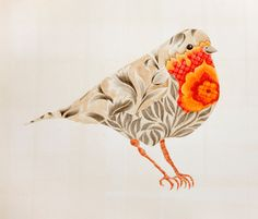 Nicola Jarvis Studio - art. Coloured Pencil Drawing. (for embroidery pattern?) Robin