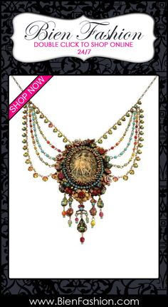 Bold Necklace | Bold Jewelry | Chunky Jewelry | Fashion Accessories | Diva | Bold Look | Fashionista | Accessories | Statement Necklace | Trendy Jewelry | SHOP NOW | Bien Fashion ♥ Victorian Sophistication Michal Negrin Bold Multi-stranded Necklace Adorned with Dancing Ladies Cameo Medallion, Marquise Stones, Hand Painted Flowers, Vintage Roses, Blue, Green and Multicolor Swarovski Crystals, Beads and Vitrail Tear Drop Charms $672.00