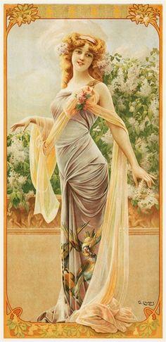 ᙖҽąմ৳ἶƒմℓ Ꭿɽ৳ ~ Art Nouveau poster by Gaspar Camps Alphonse Mucha, Art Nouveau Mucha, Art Nouveau Poster, Posters Vintage, Retro Poster, Look Vintage, Vintage Art, Vintage Pictures, Vintage Images