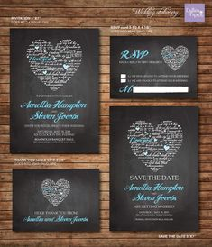 Wedding Invitation printables, Chalk board, Heart, Customized DIY, Thank you card, Save the date, RSVP