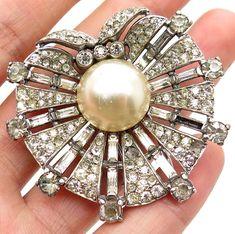Antique Trifari Art Deco 925 Silver Glass & Faux Pearl Designer Pin Brooch    eBay