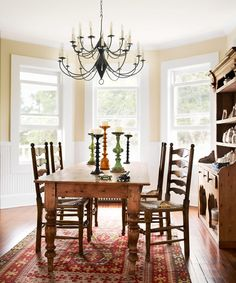 Wooden Farmhouse Dining Room Table And Chairs. This dining room placed in bay window area and furnishing with wooden farmhouse dining room table and chairs. Old Home Renovation, Old Home Remodel, Kitchen Remodel, Farmhouse Renovation, House Renovations, Farmhouse Dining Room Table, Dining Room Wall Decor, Dining Room Design, Room Decor