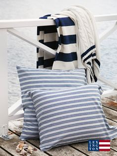 Seaside Poplin Striped Bedding Seaside Knitted Throws - Lilly is Love Coastal Cottage, Coastal Style, Coastal Decor, Coastal Living, Seaside Style, Deco Nature, Striped Bedding, Nautical Home, Nautical Stripes