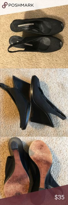 Donald J Pliner Black wedge heels size 6 Very cute Donald J Pliner Black wedge heels size 6. Heels are 4 inches.  Feel free to ask any questions and offers are always welcome😀 Donald J. Pliner Shoes Heels