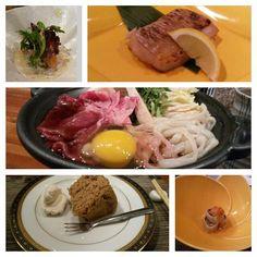 Kaiseki coursed menu: sashimi wrapped salad  grilled soy sauce snapper so fried tuna with shishito pepper radish wrapped salmon with uni in a yuzu miso vinegar beef sukiyaki with white rice and miso soup and earl grey spongecake. @kaoru_azeuchi @yuzu_japanese_kitchen #lovethisplace #diningwell #kaiseki by gochiminh