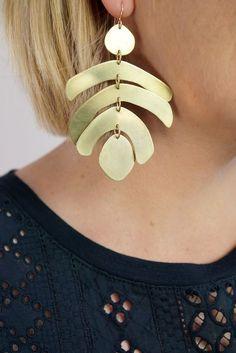 Mocal statement earrings by Megan Auman #StructuredEarrings #Structured #Earrings #gold
