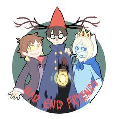 bad end friends Garden Wall Art, Over The Garden Wall, Friend Tumblr, Best Crossover, Bad Friends, Nickelodeon, Cartoon Crossovers, Gravity Falls, Cartoon Network