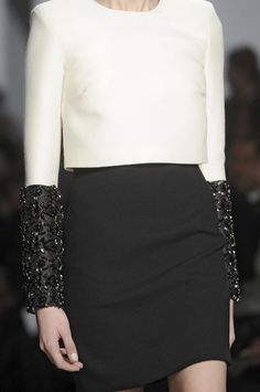 Black white top with bead encrusted sleeve detail - embellished fashion; runway details // Giambattista Valli
