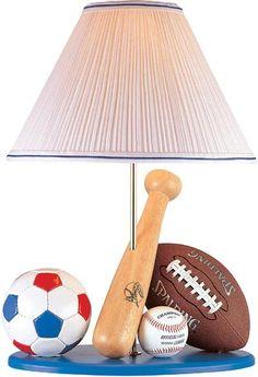 All sports lamp - Soccer, Baseball & Football. So cute for a little boy's room.