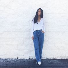 Easy ~ Boyfriend jeans, more like dad jeans. Wide and big . . .