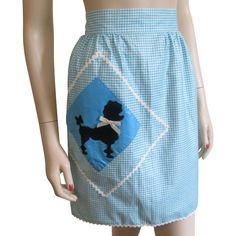 Gingham Apron Vintage 1950s Black Poodle Applique Cotton Accessory