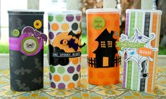re-used crystal light containers for Halloween gifts for the kid's school teachers this year!