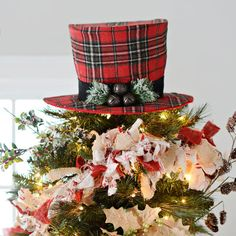 Red Plaid Top Hat Christmas Tree Topper from Kirkland's