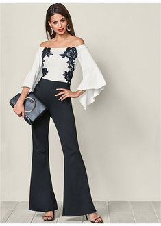 Chiffon Overlay Jumpsuit in Black Multi Latest Fashion For Women, Womens Fashion, Fashion Fashion, Estilo Fashion, White Outfits, Jumpsuits For Women, Fashion Jumpsuits, Outfit Sets, Fashion Dresses