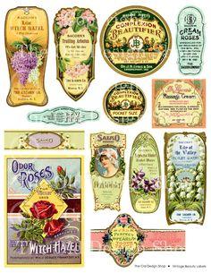 Vintage Beauty Perfume Labels Digital Download by TheOldDesignShop, $3.50