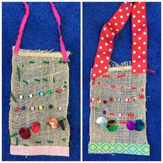 First graders were really excited to hear they would be sewing in art class - this wall hanging project teaches young students how to thread...
