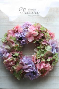 Silk flower wreath mix of antique hydrangea