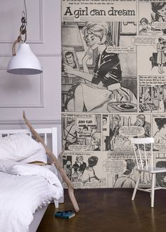 A Girl Can Dream Mural from the Beano & Friends Collection #retro #mural #monochrome