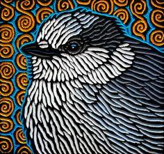 "Gray Jay painted woodcut block  on salvaged Douglas Fir 9.25"" x 8.75"" Lisa Brawn 2013"