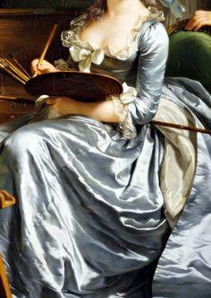 Self-portrait with two pupils, The pupils are Marie-Gabrielle Capet and Carreaux de Rosemond. Detail. by Adélaïde Labille-Guiard, 1785