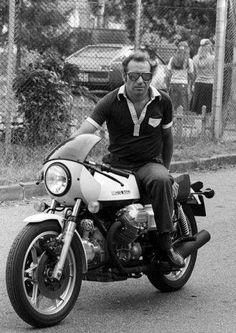 Vittoria Brambilla Moto guzzi 850 Le Mans factory development rider and racer also F1 car racer.