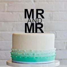 """Laser-Cut Mr. and Mr. Monogram. Laser-cut """"Mr. & Mr."""" cake topper from Victor Lepahhin of SVLaser."""