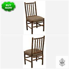 Natural Hickory Log High-back Spoke Side Chair Standard Finish Upholstered Seat