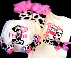 First Birthday Girl Outfit Cow Farm Pink and Black by whimsytots, $70.50