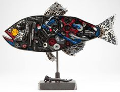 This fish sculpture by Kendall Polster is just one of the amazing sculptures of the SRAM pART Project, where artists transform bike parts into art. Even better is that all of the art is being auctioned off to benefit people in need through World Bicycle Relief.