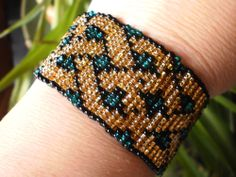 Gold & Turquoise CELTIC BRAID BEADED BRACELET Wicca Witch Pagan Jewelry