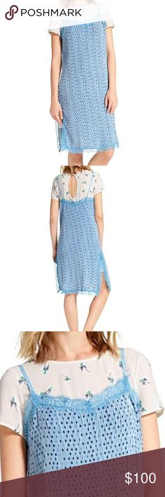 NWT!! Free People Blue Slip Dress 2 in 1 Adorable Free People baby blue polka dot slip dress. It has a white floral under dress with keyhole back closer. Perfect for Summer Concerts and Festivals. All reasonable offers accepted 🛍🛍🛍 Free People Dresses
