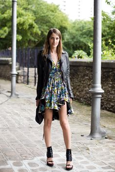 Lovely ensemble with a pretty dress, leather jacket, and glads