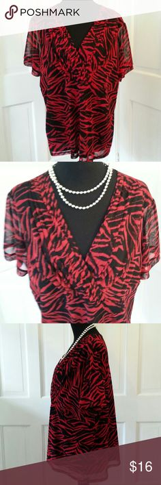 LADIES TOP RAFAELLA 3X LADIES TOP RAFAELLA 3X DESIGNED IN BLACK AND RED  WITH A BEAUTIFUL V NECKLINE,  SHORT SLEEVES AND EMPIRE STYLE.  IT IS FULLY LINED. CAN BE WORN ALONE OR UNDER A NICE BLAZER. 100% POLYESTER, HAND WASH COLD.  RAFAELLA MAKES A QUALITY GARMET. I HAVE WORN THIS A FEW TIMES, BUT IT LOOKS OFF THE RACK BRAND NEW. POSH PRINCESS SC Rafaella Tops Blouses