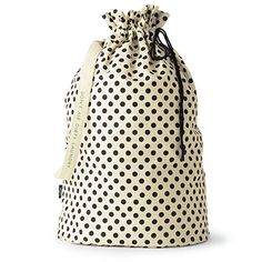 """style: don't air dirty laundry laundry day is less of a chore with a cheeky polka dot bag to hold your things. this one says """"don't air dirty laundry"""" on the strap, and it's just as ideal for a trip t Polka Dot Bags, Polka Dots, Kate Spade Quotes, Canvas Laundry Bag, Laundry Bags, Laundry Baskets, Leather Luggage Tags, Black Dots, Handbag Accessories"""