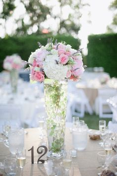 Stunning Pink and White with table number's