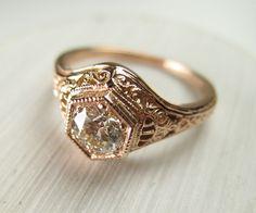 Custom Made Filigree Antique Vintage Engagement Diamond Ring Rose Gold