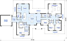 """Large Family House Floor Plan Cost Of Building A House -- that glass link needs to be a an actually functional mudroom, command center, pet reception area which also makes it look like the master suite is """"outside"""" the security envelope of the house. 4 Bedroom House Plans, New House Plans, Dream House Plans, House Floor Plans, H Design, Plan Design, One Story Homes, House Blueprints, Sims House"""