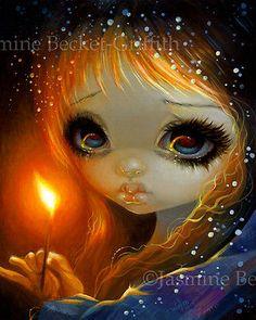 The Little Match Girl big eye art by Jasmine Becket-Griffith - the little match girl Hans Christian Andersen illustration Fairytale Oracle art big eyes girl The Little Match Girl, Arte Steampunk, Art Mignon, Art Beat, Winter Fairy, Gothic Fairy, Fairytale Art, Little Doll, Eye Art
