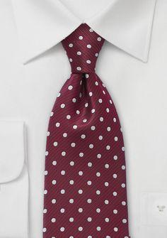 Krawatte Tupfen burgunderrot