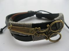 Braceletantique bronze scissors real leather by Styleleader, $6.99 (I would like to get this for my hairstylists)