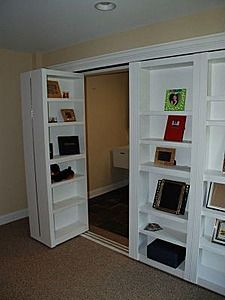 Bookshelf closet doors!  What a great idea if the room is too small for additional furniture like a book case.