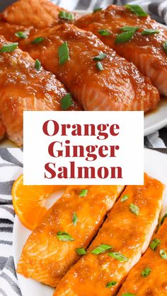 Easy orange ginger glaze gives the baked salmon such a great burst of fresh flavors! A must-try salmon recipe. Easy orange ginger glaze gives the baked salmon such a great burst of fresh flavors! A must-try salmon recipe. Salmon Recipe Pan, Seared Salmon Recipes, Healthy Salmon Recipes, Seafood Recipes, Sauces For Baked Salmon, Salmon Marinade Baked, Fish Recipes, Orange Salmon Recipes, Orange Glazed Salmon