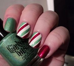 This festive red, white and green nail design is perfect for the holidays