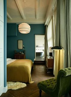 a blank canvas to explode mandalas and crystal and plants and fossils all over. The Design of Soho House — Hotel Style Teal Bedroom Walls, Bedroom Green, Bedroom Colors, Home Bedroom, Peaceful Bedroom, Ochre Bedroom, Bedroom Furniture, Furniture Ideas, Bedroom Ideas