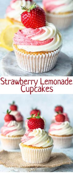Strawberry Lemonade Cupcakes - Pies and Tacos These Strawberry Lemonade Cupcakes are the perfect summer treats! The cupcakes are lemon flavored, topped with a Strawberry Cream Cheese and Lemon Cream Cheese Frostings! Brownie Desserts, Oreo Dessert, Mini Desserts, Coconut Dessert, Delicious Desserts, Appetizer Dessert, Cheesecake Desserts, Raspberry Cheesecake, Strawberry Lemonade Cupcakes