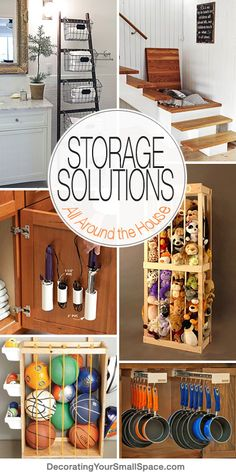 Storage Solutions All Around the House! Check out this post and get tons of great ideas for storage around your home. Lots of great projects and tutorials for garage storage, kitchen storage, bathroom storage and much more! #homestorage #DIYhomestorage #DIYkitchenstorage #DIYbathroomstorage #DIYgaragestorage #DIYlaundryroomstorage #homeorganizing Ideas Prácticas, Garage Storage, Laundry Room Storage, Kitchen Storage, Bathroom Storage, Organisation, Home Hacks, Ball Storage, Storage Units