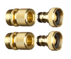 Hoses & Accessories Set of 4 Male and Female 3/4 Inch Garden Hose End and Faucet Quick Connector Set Gardening