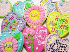 Beautiful and brightly decorated Mother's Day cookies.