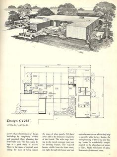 Vintage House Plans, 1960s homes, mid century homes --- mud room, atrium entrance luv !